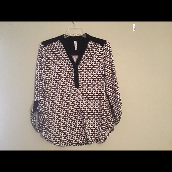 PerSeption Concept Tops - TOP, BLACK/IVORY HEART PRINT, EASY TO WEAR
